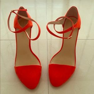 Zara basic orange ankle strap heels Sz 41